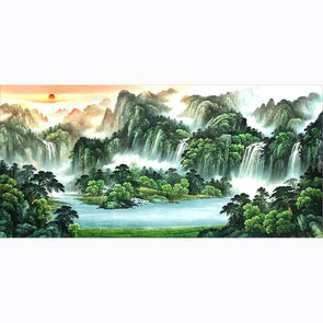 100*50CM Round Drill Diamond Painting-Mountains and Rivers