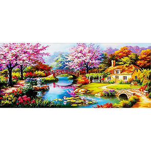 100*50CM Square Drill Diamond Painting-Spring Bridge