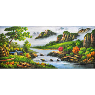 100*50CM Round Drill Diamond Painting-Mountain Stream