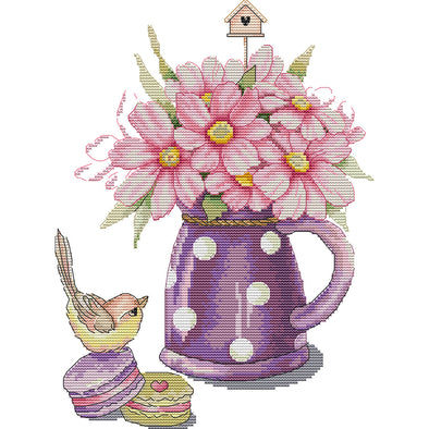 Bird and vase - Cross Stitch - 28x35cm