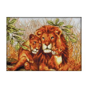 The Lion Family - 14CT Stamped Cross Stitch - 44*33cm