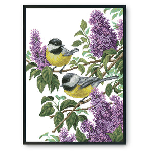 Two little birds - 14CT Stamped Cross Stitch - 46*37cm
