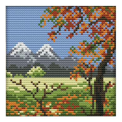 Four Seasons - 14CT Stamped Cross Stitch - 16*16cm