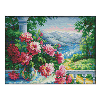 Vase and distant mountains - 14CT Stamped Cross Stitch - 48*37cm