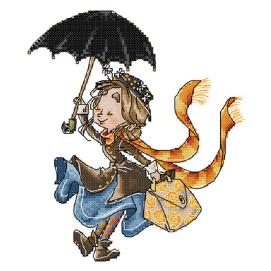 Girl With Umbrella - 14CT Stamped Cross Stitch - 21*27cm