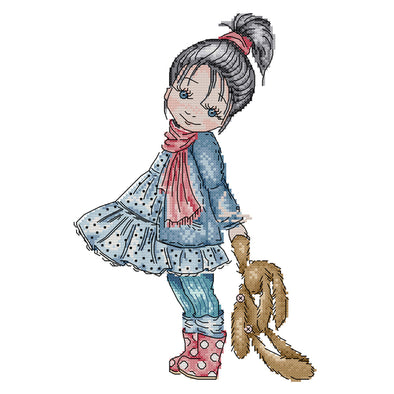 Little Girl Walking - 14CT Stamped Cross Stitch - 34*22cm