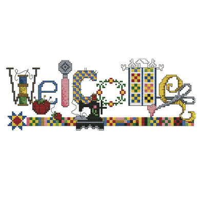 Sewing Machine Welcome Sign - 14CT Stamped Cross Stitch - 31*14cm