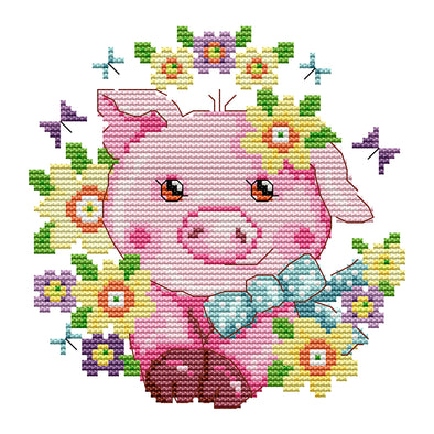 Happy Farm-Little Pig - 14CT Stamped Cross Stitch - 19*18cm