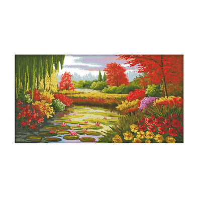 Lotus Pond In Autumn - 14CT Stamped Cross Stitch - 103*58cm