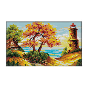 Autumn By The Sea - 14CT Stamped Cross Stitch - 40*26cm