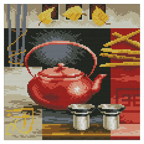 Teapot And Cup - 14CT Stamped Cross Stitch - 27*27cm