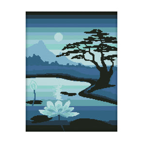 Lotus Pond Moonlight - 11CT Stamped Cross Stitch - 42*53cm