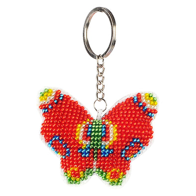 Red Butterfly - Bead Embroidery - Keychain