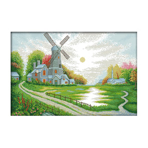 Windmill Cottage - 14CT Stamped Cross Stitch - 55*39cm