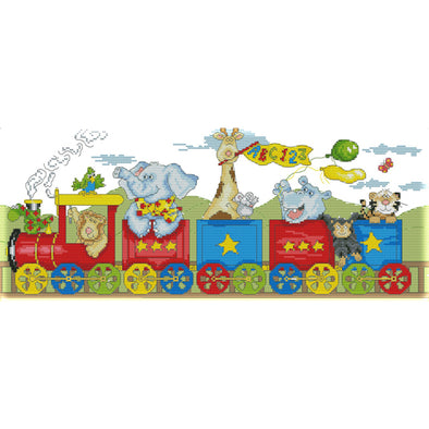 Happiness Train - 14CT Stamped Cross Stitch - 51*22cm