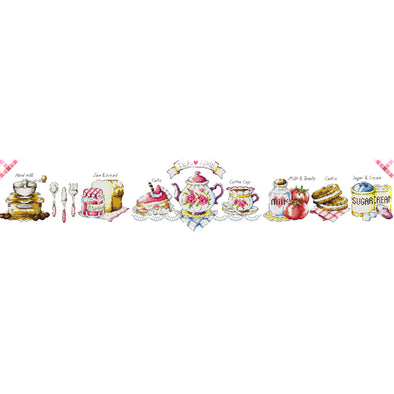 Afternoon Tea Time - 14CT Stamped Cross Stitch - 95*21cm