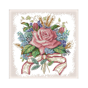 Bouquet Of Flowers - 14CT Stamped Cross Stitch - 27*27cm