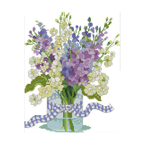 Orchid - 14CT Stamped Cross Stitch - 32*27cm