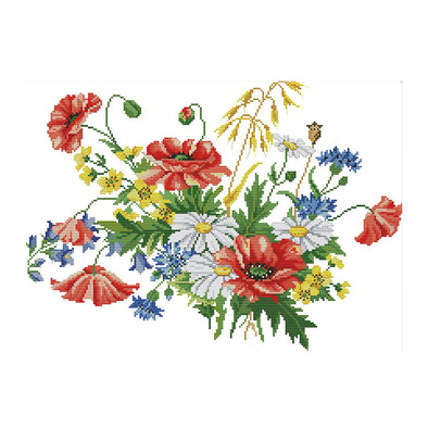 Flowers Blooming - 14CT Stamped Cross Stitch - 47*35cm