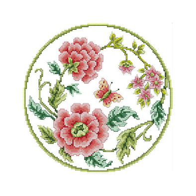 Flowers Blooming - 14CT Stamped Cross Stitch - 28*28cm