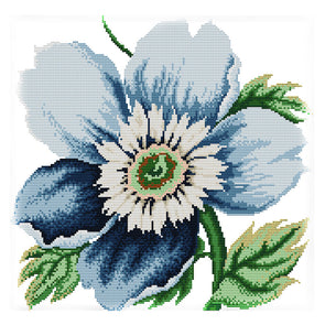 Blue Flowers - 14CT Stamped Cross Stitch - 38*38cm