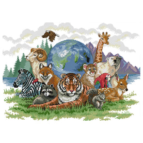 Animal World - 14CT Stamped Cross Stitch - 55*42cm