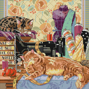 Cat And Sewing Machine - 14CT Stamped Cross Stitch - 38*38cm