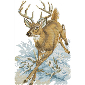Running Deer - 14CT Stamped Cross Stitch - 29*41cm