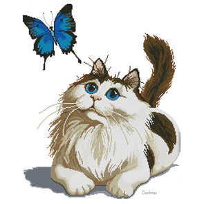 Cat And Butterfly - 14CT Stamped Cross Stitch - 44*53cm