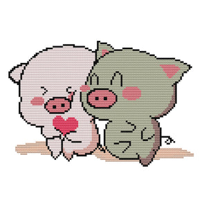 Couple Pig - 14CT Stamped Cross Stitch - 32*29cm