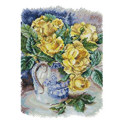 Yellow Rose - 14CT Stamped Cross Stitch - 31*40cm