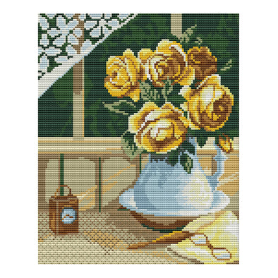 Yellow Rose - 14CT Stamped Cross Stitch - 28*33cm