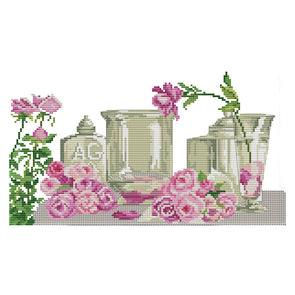 Roses And Utensils - 14CT Stamped Cross Stitch - 35*21cm