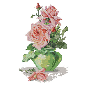 Rose And Vase - 14CT Stamped Cross Stitch - 29*42cm