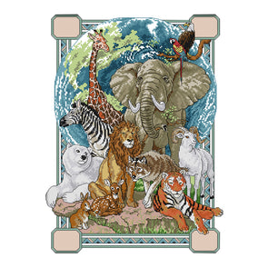 Animal - 14CT Stamped Cross Stitch - 37*48cm