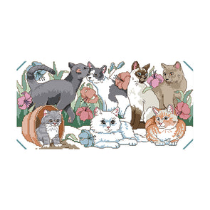 Cat Party - 14CT Stamped Cross Stitch - 45*26cm