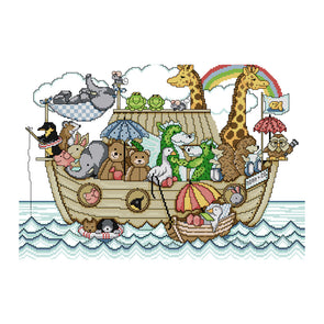 Noah'S Ark - 14CT Stamped Cross Stitch - 49*36cm