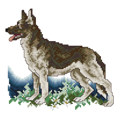 German Shepherd - 14CT Stamped Cross Stitch - 22*21cm