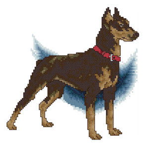 Doberman - 14CT Stamped Cross Stitch - 22*22cm