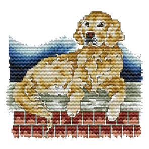 Golden Retriever - 14CT Stamped Cross Stitch - 26*22cm