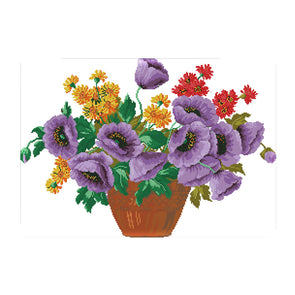Purple Potted Flowers - 14CT Stamped Cross Stitch - 56*42cm