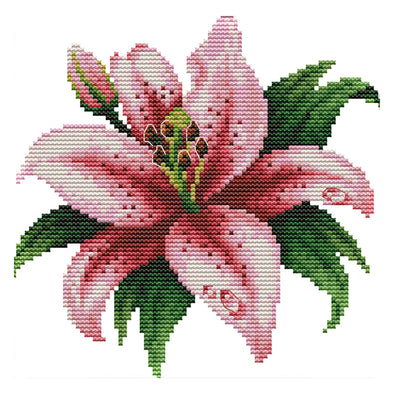 Blooming Lily - 14CT Stamped Cross Stitch - 21*20cm