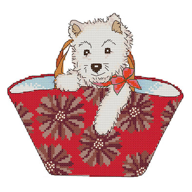 Dog In Bag - 14CT Stamped Cross Stitch - 26*22cm