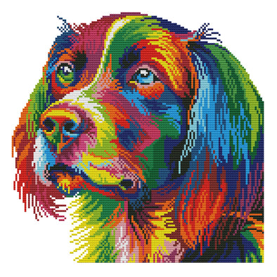 Rainbow Dog - 14CT Stamped Cross Stitch - 34*34cm