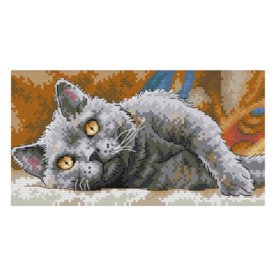 Black Cat - 14CT Stamped Cross Stitch - 28*16cm