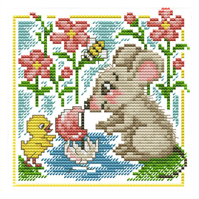 Little Mouse Learns To Swim - 14CT Stamped Cross Stitch - 17*17cm
