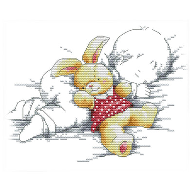 Baby Fell Asleep - 14CT Stamped Cross Stitch - 27*21cm