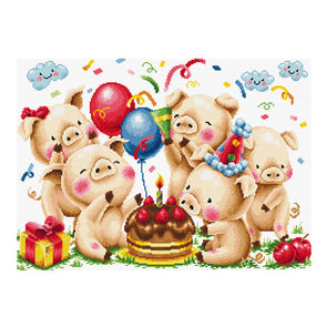 Little Pig'S Birthday Party - 11CT Stamped Cross Stitch - 66*49cm