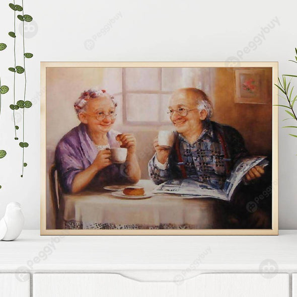 40*30CM Round Drill Diamond Painting-Happy Old Lovers