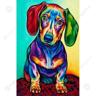 25*35CM Special Shaped Diamond Painting-Colorful Dog